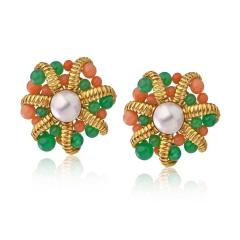 Tiffany Co TIFFANY CO 18K GOLD CULTURED PEARL CORAL CHRYSOPRASE CLIP ON EARRINGS - 1721096