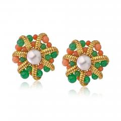Tiffany Co TIFFANY CO 18K GOLD CULTURED PEARL CORAL CHRYSOPRASE CLIP ON EARRINGS - 1721569