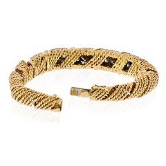 Tiffany Co TIFFANY CO 18K YELLOW GOLD 4 50 CARATS DIAMOND WOVEN ROPES BANGLE BRACELET - 1941074