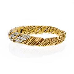 Tiffany Co TIFFANY CO 18K YELLOW GOLD 4 50 CARATS DIAMOND WOVEN ROPES BANGLE BRACELET - 1941075