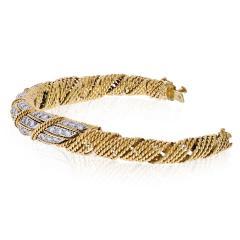 Tiffany Co TIFFANY CO 18K YELLOW GOLD 4 50 CARATS DIAMOND WOVEN ROPES BANGLE BRACELET - 1941076