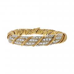 Tiffany Co TIFFANY CO 18K YELLOW GOLD 4 50 CARATS DIAMOND WOVEN ROPES BANGLE BRACELET - 1942266