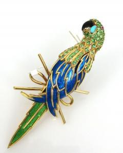 Tiffany Co TIFFANY CO 18K YELLOW GOLD PERIDOT AND BLUE ENAMEL PARROT BROOCH - 1721127
