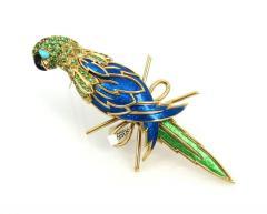 Tiffany Co TIFFANY CO 18K YELLOW GOLD PERIDOT AND BLUE ENAMEL PARROT BROOCH - 1721128