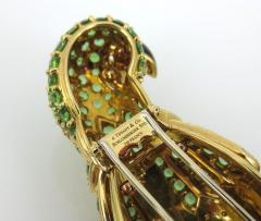 Tiffany Co TIFFANY CO 18K YELLOW GOLD PERIDOT AND BLUE ENAMEL PARROT BROOCH - 1721129