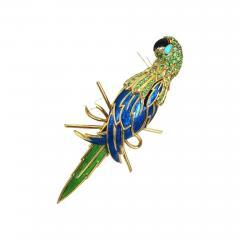 Tiffany Co TIFFANY CO 18K YELLOW GOLD PERIDOT AND BLUE ENAMEL PARROT BROOCH - 1722279