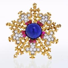 Tiffany Co TIFFANY CO 18K YELLOW GOLD SNOWFLAKE WITH LAPIS RUBIES AND DIAMONDS BROOCH - 1941025