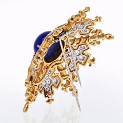 Tiffany Co TIFFANY CO 18K YELLOW GOLD SNOWFLAKE WITH LAPIS RUBIES AND DIAMONDS BROOCH - 1941077