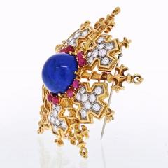 Tiffany Co TIFFANY CO 18K YELLOW GOLD SNOWFLAKE WITH LAPIS RUBIES AND DIAMONDS BROOCH - 1941078