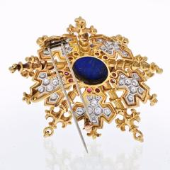 Tiffany Co TIFFANY CO 18K YELLOW GOLD SNOWFLAKE WITH LAPIS RUBIES AND DIAMONDS BROOCH - 1941079