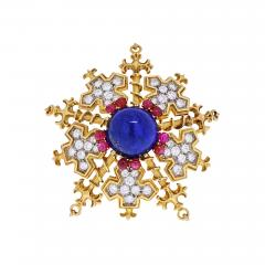Tiffany Co TIFFANY CO 18K YELLOW GOLD SNOWFLAKE WITH LAPIS RUBIES AND DIAMONDS BROOCH - 1942267