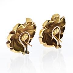 Tiffany Co TIFFANY CO 18K YELLOW GOLD SWIRL LEAF FLOWER EARRINGS - 2019771