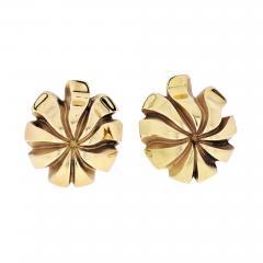 Tiffany Co TIFFANY CO 18K YELLOW GOLD SWIRL LEAF FLOWER EARRINGS - 2022031