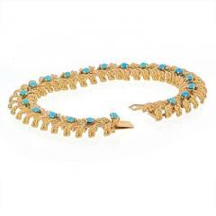 Tiffany Co TIFFANY CO 18K YELLOW GOLD TURQUOISE VINTAGE BRACELET - 1977203