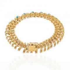 Tiffany Co TIFFANY CO 18K YELLOW GOLD TURQUOISE VINTAGE BRACELET - 1977204
