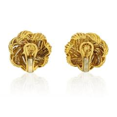 Tiffany Co TIFFANY CO 1970S 18K YELLOW GOLD ROUND CORAL VINTAGE FLOWER EARRINGS - 1720971