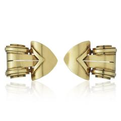 Tiffany Co TIFFANY CO CIRCA 1940S 18K YELLOW GOLD DOUBLE CLIP BROOCH - 1721088