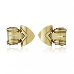 Tiffany Co TIFFANY CO CIRCA 1940S 18K YELLOW GOLD DOUBLE CLIP BROOCH - 1721566