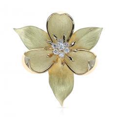 Tiffany Co TIFFANY CO FLORAL DIAMOND BROOCH 18 KARAT YELLOW GOLD - 1964945
