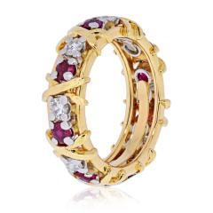Tiffany Co TIFFANY CO PLATINUM 18K YELLOW GOLD 16 STONE SCHLUMBERGER RUBY DIAMOND RING - 2029633
