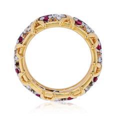 Tiffany Co TIFFANY CO PLATINUM 18K YELLOW GOLD 16 STONE SCHLUMBERGER RUBY DIAMOND RING - 2029634