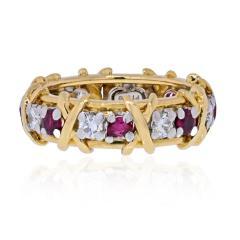 Tiffany Co TIFFANY CO PLATINUM 18K YELLOW GOLD 16 STONE SCHLUMBERGER RUBY DIAMOND RING - 2029635
