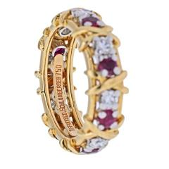 Tiffany Co TIFFANY CO PLATINUM 18K YELLOW GOLD 16 STONE SCHLUMBERGER RUBY DIAMOND RING - 2029636