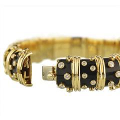 Tiffany Co TIFFANY CO PLATINUM 18K YELLOW GOLD BLACK ENAMEL DIAMOND BANGLE BRACELET - 1721081