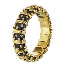 Tiffany Co TIFFANY CO PLATINUM 18K YELLOW GOLD BLACK ENAMEL DIAMOND BANGLE BRACELET - 1721082