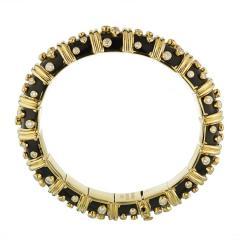 Tiffany Co TIFFANY CO PLATINUM 18K YELLOW GOLD BLACK ENAMEL DIAMOND BANGLE BRACELET - 1721083