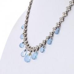 Tiffany Co TIFFANY CO PLATINUM DIAMOND AND AQUAMARINE LACE NECKLACE - 1858665