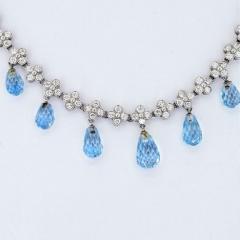 Tiffany Co TIFFANY CO PLATINUM DIAMOND AND AQUAMARINE LACE NECKLACE - 1858666