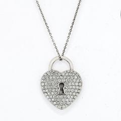 Tiffany Co TIFFANY CO PLATINUM PAVE DIAMOND HEART PENDANT - 2099029