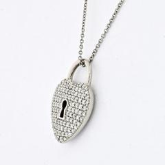 Tiffany Co TIFFANY CO PLATINUM PAVE DIAMOND HEART PENDANT - 2099032