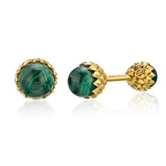 Tiffany Co TIFFANY CO SCHLUMBERGER 18K YELLOW GOLD ACORN GREEN MALACHITE CUFF LINKS - 1797270