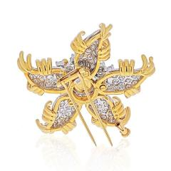 Tiffany Co TIFFANY CO SCHLUMBERGER PLATINUM 18K YELLOW GOLD STARFISH DIAMOND BROOCH - 1941081