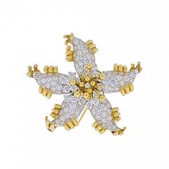 Tiffany Co TIFFANY CO SCHLUMBERGER PLATINUM 18K YELLOW GOLD STARFISH DIAMOND BROOCH - 1942269