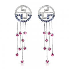 Tiffany Co TIFFANY DANGLING EARRINGS WITH RUBY SAPPHIRE AND DIAMONDS 18 KARAT GOLD - 2031133