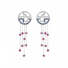 Tiffany Co TIFFANY DANGLING EARRINGS WITH RUBY SAPPHIRE AND DIAMONDS 18 KARAT GOLD - 2031658