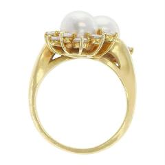Tiffany Co Tiffany Co Double Pearl Ring with Round Diamonds 18 Karat Yellow Gold - 1795433