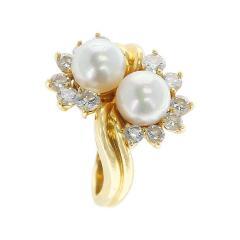 Tiffany Co Tiffany Co Double Pearl Ring with Round Diamonds 18 Karat Yellow Gold - 1795434
