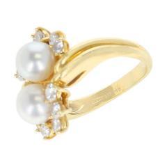 Tiffany Co Tiffany Co Double Pearl Ring with Round Diamonds 18 Karat Yellow Gold - 1795435