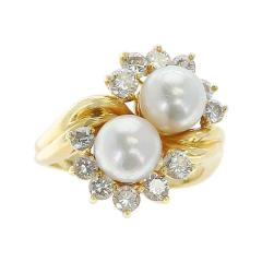 Tiffany Co Tiffany Co Double Pearl Ring with Round Diamonds 18 Karat Yellow Gold - 1795436