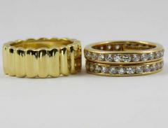 Tiffany Co Tiffany Co Set of Three Diamond and Yellow Gold Eternity Bands - 80535