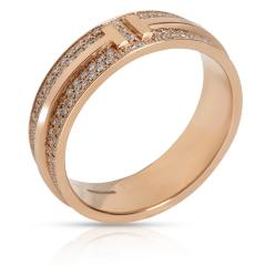 Tiffany Co Tiffany Co T Wide Pave Diamond Ring in 18K Rose Gold 0 61 CTW - 1709231