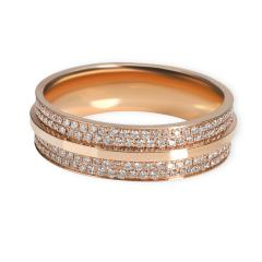 Tiffany Co Tiffany Co T Wide Pave Diamond Ring in 18K Rose Gold 0 61 CTW - 1709232