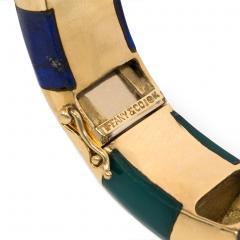 Tiffany Co Tiffany Estate Gold Lapis and Green Onyx Bangle Bracelet - 1828444