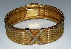 Tiffany and Co 18K Gold Tiffany Co Woven X Bracelet - 599020