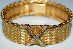 Tiffany and Co 18K Gold Tiffany Co Woven X Bracelet - 599022