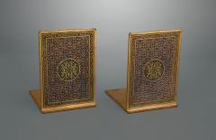 Tiffany and Co A Pair of Tiffany Gilt and Enamel Bookends in the Medallion Pattern 2028  - 1120855